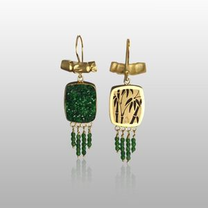 fancy uvarovite earrings
