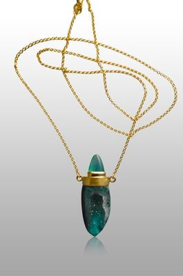 necklace-druse-chrysocola-peruvian-opal-gold